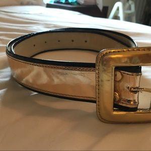 Gold patent leather belt